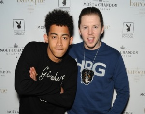 Jordan from Rizzle Kicks and Professor Green out for the launch of cabaret at Baroque at Playboy Club London (1)