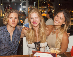 Dougie Poynter, Valerie Van de Graff and guest dine at STK Ibiza on Friday 22nd July 2016