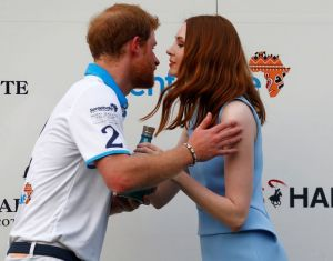 Karen Gillan presenting the trophy to Prince Harry